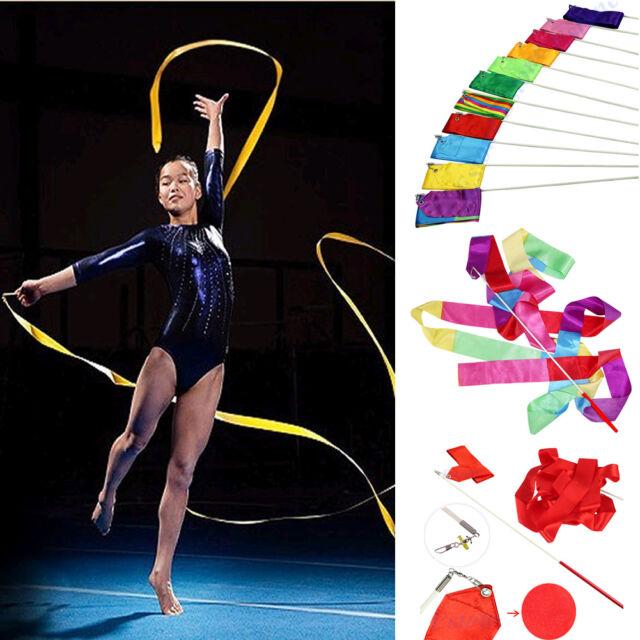 4M Dance Ribbon Gym Rhythmic Art Gymnastic Ballet Streamer Twirling Rod 11 Color