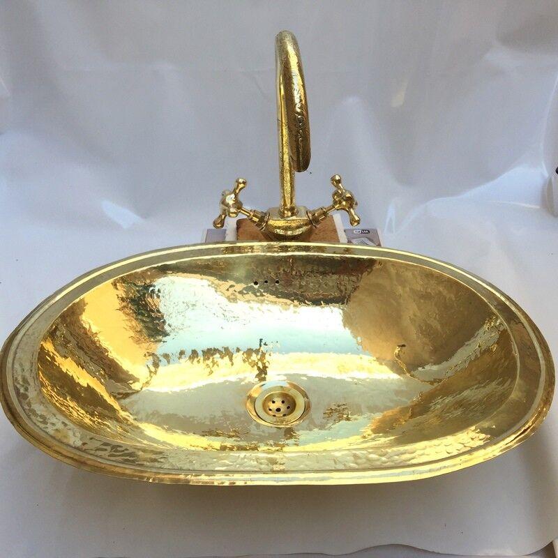Laiton évier + laiton robinet fait main marocain martelé Plain Grand Ovale évier