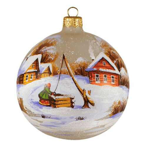 3 9 Winter Village Well Christmas Glass Ball Ornament Handmade In Russia