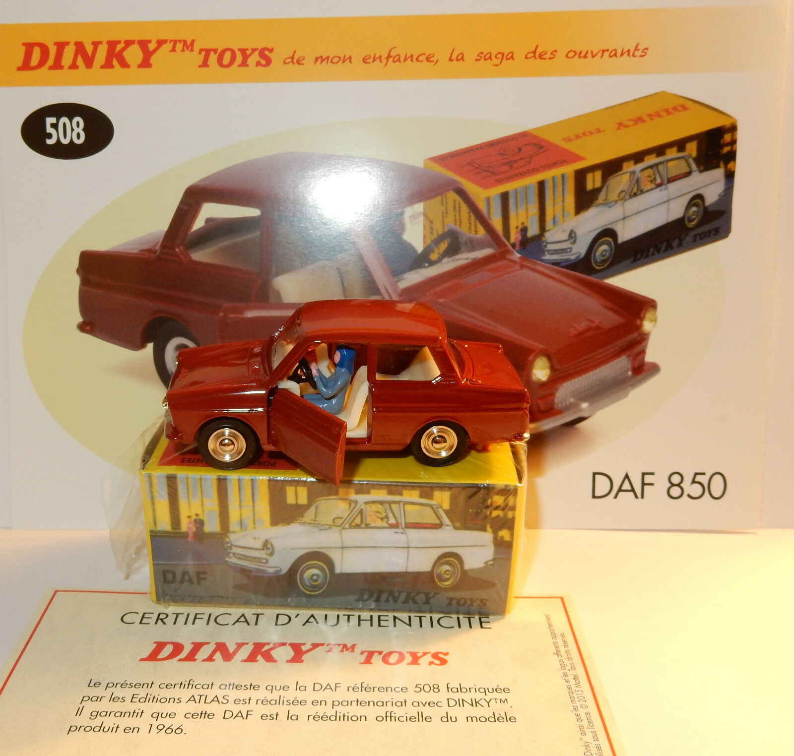 DINKY TOYS ATLAS DAF 850 BORDEAUX 1966 REF 508 PORTES OUVRANTES CONDUCTRICE 1 43