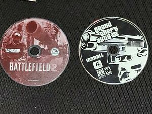 VIDEO-GAME-DISC-ONLY-DVD-ROM-COMPUTER-PC-EA-BATTLEFIELD-2-and-GTA-3
