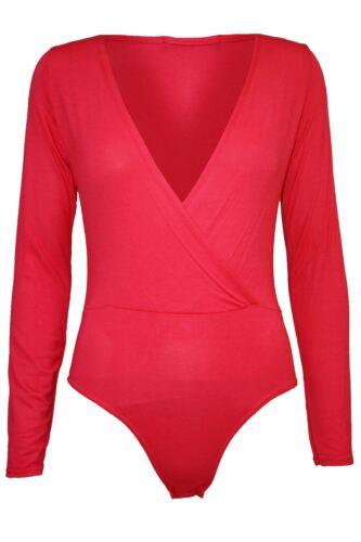 Ladies Womens Deep Plunge Plain Full Sleeve Wrap Cross Bodysuit Leotard Top