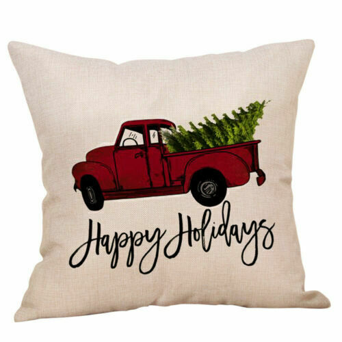 Decorative Linen Gift Cover Pillow Vehicle Cushion Home Printing Case Christmas