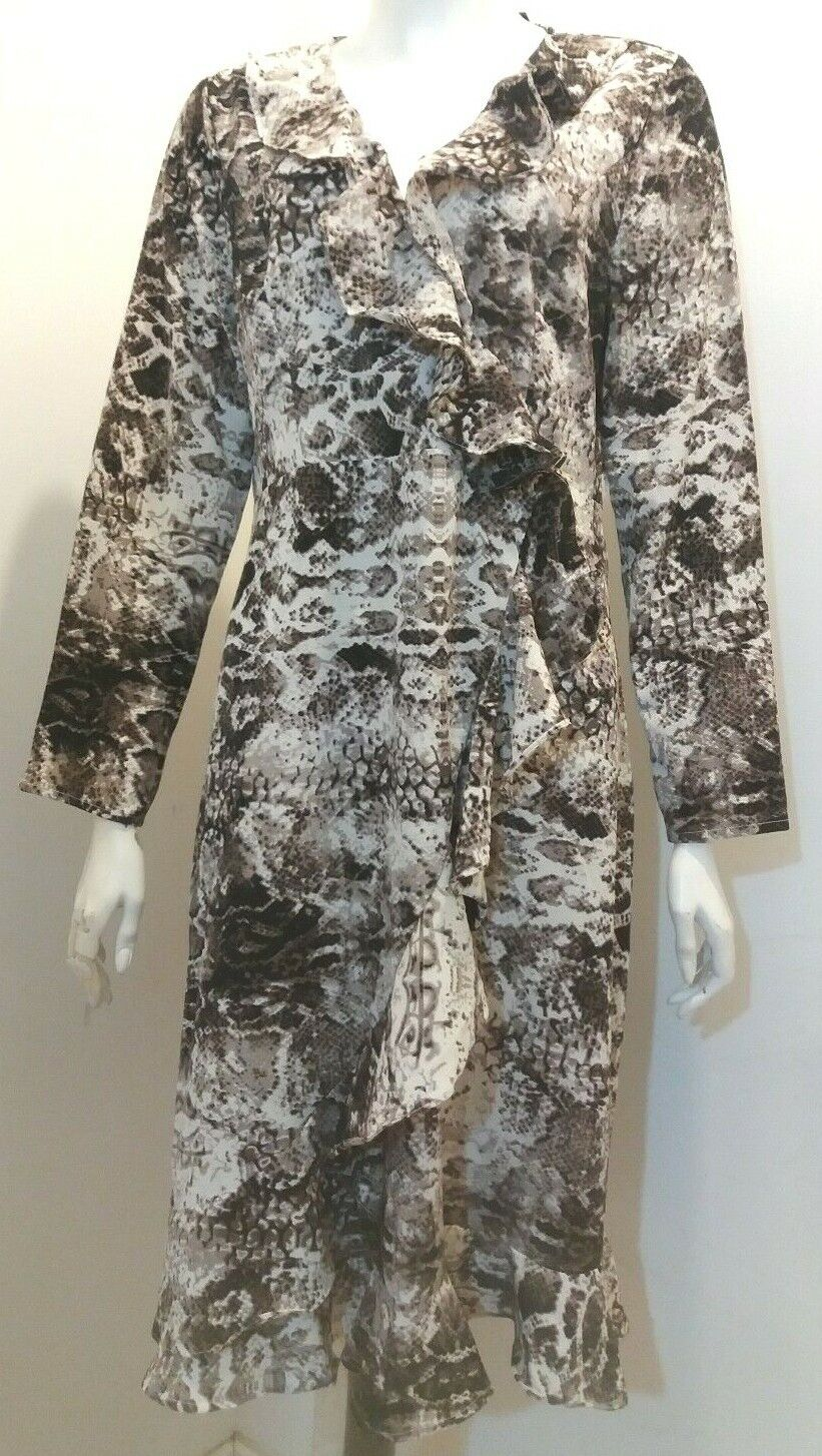 New Quiz Brown Snake Print Long Sleeve Wrap Dress