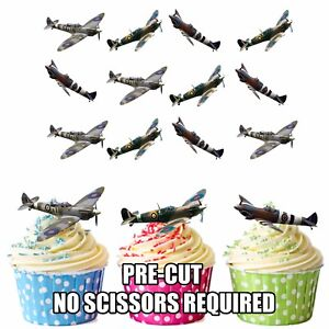 PRECUT-Spitfires-WW2-RAF-Planes-12-Edible-Cupcake-Toppers-Cake-Decorations-Mens