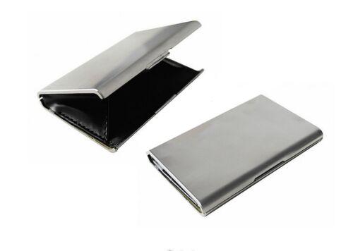 Goldbarren Etui 2 x Visitenkarten Etui Business Card Box Metall Alu silber
