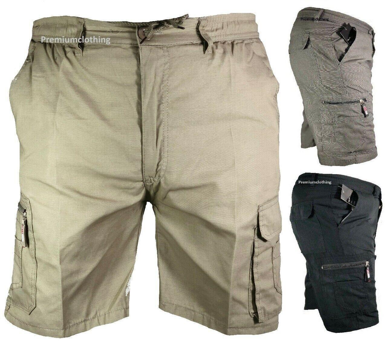 New Mens Elasticated Waist Cargo Combat Plain Shorts Pants Bottom Half Pant Zip