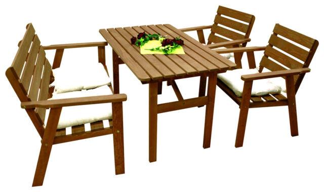 Sitzgruppe Holz 4-tlg hell Kynast Gartenmöbel Stuhl Tisch | eBay
