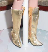 Doll Shoes, Custom 50mm zip knee boots for Ellowyne - Metallic Gold