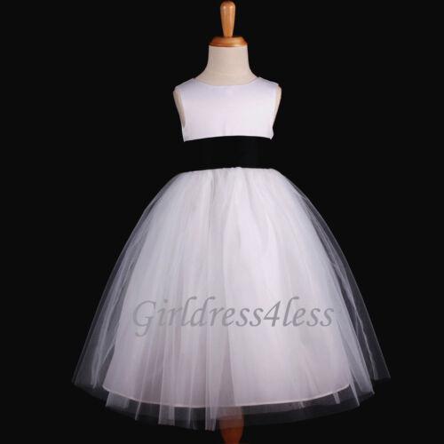 WHITE//BLACK WEDDING FORMAL BALL GOWN FLOWER GIRL DRESS 12M 2 4 6 8 10 12