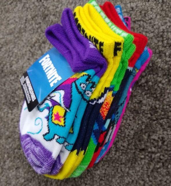 Shoe Size 9-2.5 6-Pairs Fortnite No Shows Kids Unisex Socks Size S//M