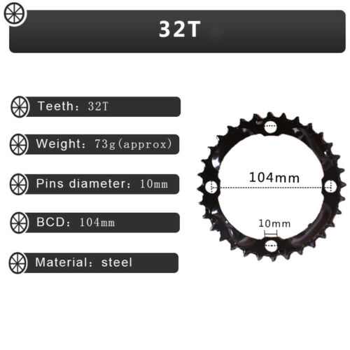 104BCD 64BCD 3X10speed 24//32//42t 170 Crankset MTB Bike Chainring Crank Sprocket