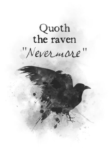 ART PRINT Quoth the Raven Nevermore Edgar Allan Poe Wall Art Gothic Poem Gift
