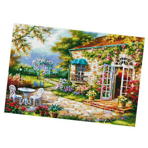11CT Stamped Cross Stitch Kits Embroidery Garden House DIY Needlepoint Craft