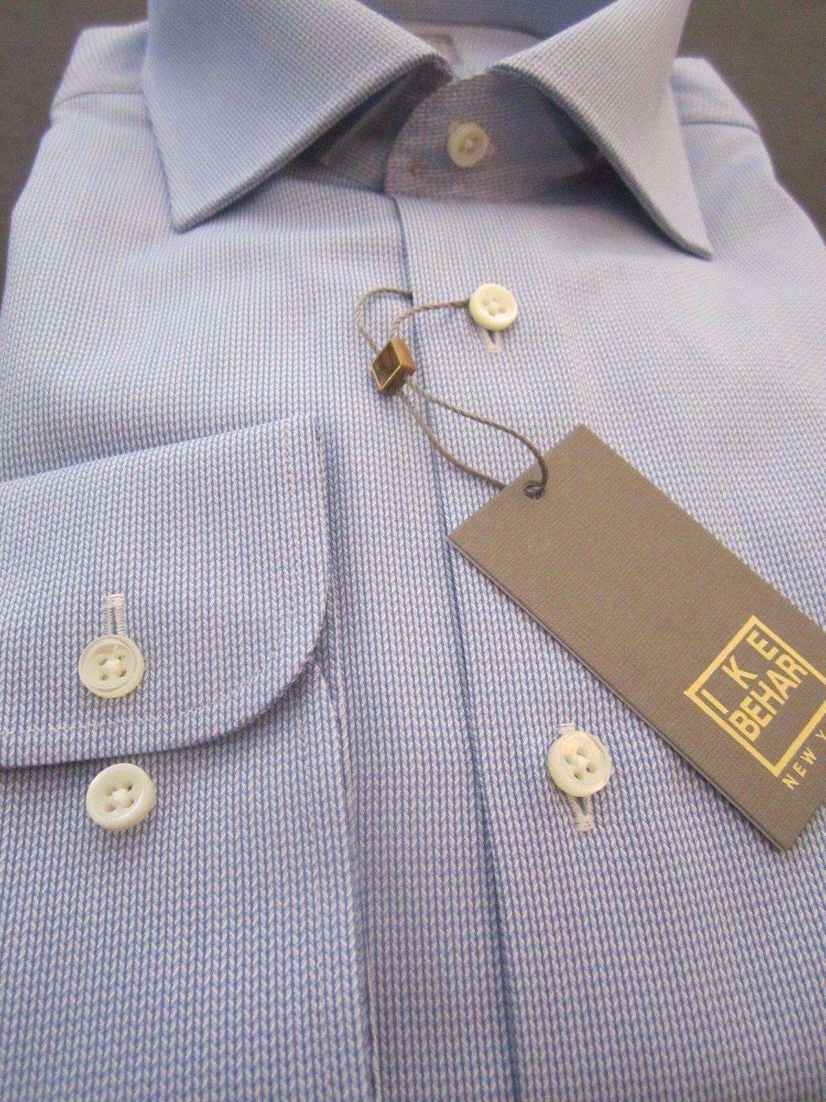 NWT Ike Behar New York Men Haze bluee Dress Shirt 17 Long Sleeve 39