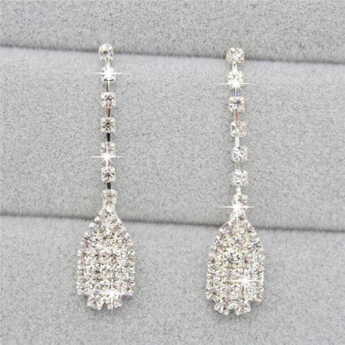 Women Lady Crystal Drop Neclace  Rhinestone Wedding Bridal Jewelry Set—AY