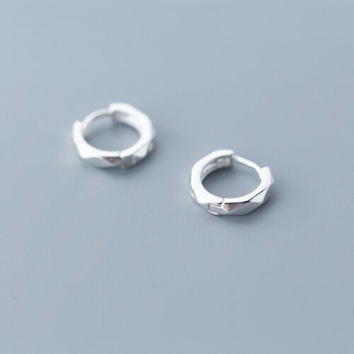 Damen Creolen Raute Muster 3 Zirkonia echt Sterling Silber 925 Kreolen Ohrringe