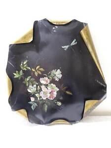Antiguo-Pintura-Al-oleo-En-Placa-Metalica-Rosas-Y-Libelula-Vintage-Um-1900