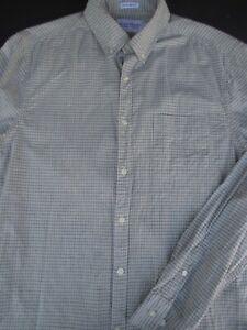 Lucky-Brand-Mens-Button-Front-Long-Sleeve-White-Gray-Cotton-Plaid-Shirt-Medium-M