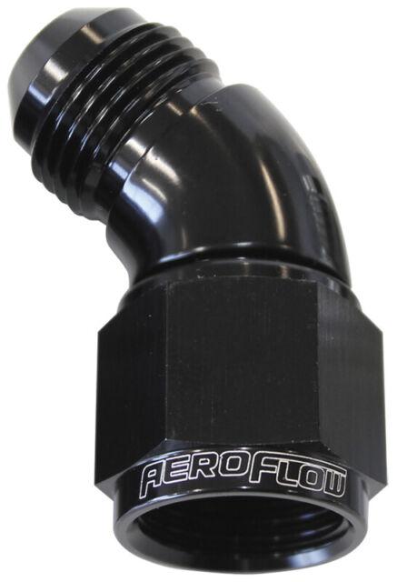 Aeroflow 45 Deg Female Male -10AN Black Full Flow AF542-10BLK