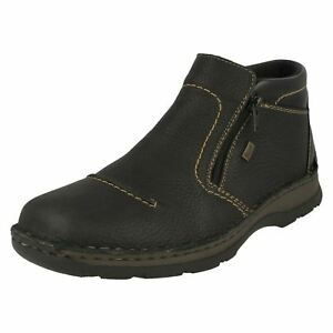 d7c44ca7422af3 Details about Mens Rieker 05372 Black Or Brown Leather Casual Warm Wool  Lined Boots