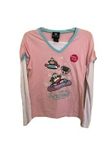 "BOBBY JACK Girls Plus XL (18.5) Long Sleeve ""Let it Snow"" Pink T-Shirt NWT NEW"
