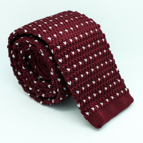 White Black Navy Blue Red Weave Knitted Skinny Fabric Tie Straight End