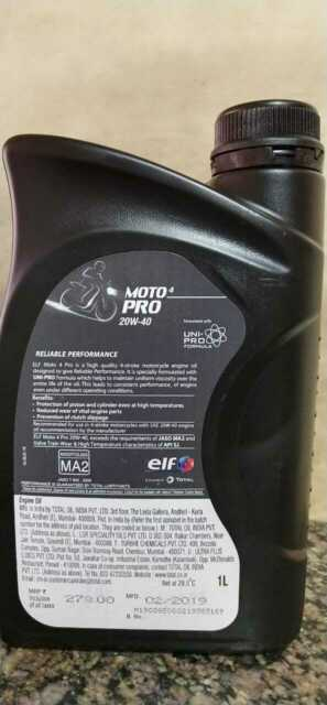 Elf Moto 4 Tech 20W-40 Synthetic Technology Motorcycle Engine Oil 1 Litre  new