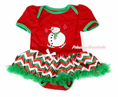 XMAS Red Bodysuit Cute Snowman Red White Green Wave Stripe Baby Dress NB-12Month