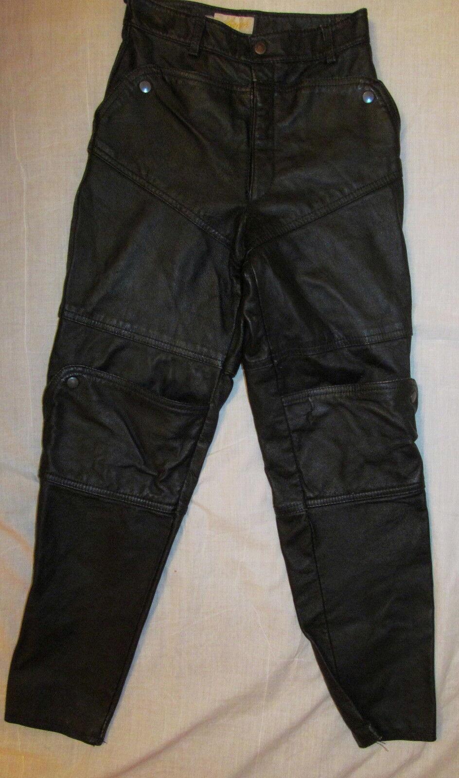 Vintage 80's EXPRESS punk new wave high waist racing biker leather pants 25