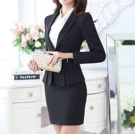 Dimensioneur completo donna nero giacca manica lunga , gonna cod 7016