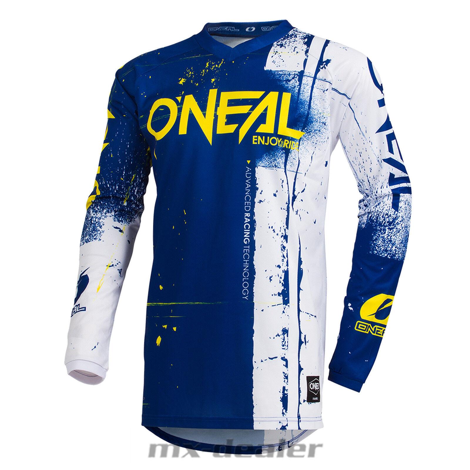 2019 O'Neal Element Shred blue yellow Jersey Trikot mx motocross mtb DH Enduro BMX