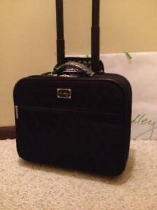 Details About Nwt Vera Bradley Classic Black On A Roll Work Bag Wheeled Travel Commuter
