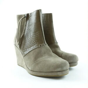 4a6451e708b Details about TOMS Women Shoes Size 6.5 Croc Embossed Taupe Suede Desert  Wedge High Booties