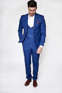 Image Is Loading Mens 3 Piece Suit Slim Fit Check Work