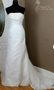 Davids-Bridal-Michaelangelo-Signature-Wedding-Gown-T8021-size-8-strapless-Beaded