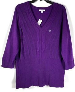 New-York-amp-Company-Sweater-Size-Large-Purple-Womens-Pullover-Open-Weave