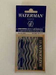 WATERMAN FOUNTAIN PEN CARTRIDGES 8 CARTRIDGES total BLUE INK brand NEW IN BOX