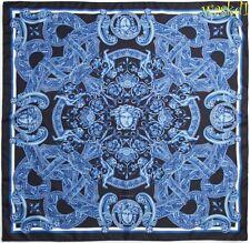 "VERSACE black Blue VENETIAN Baroque LIONS Medusas Silk 35"" Large scarf NWT Auth"