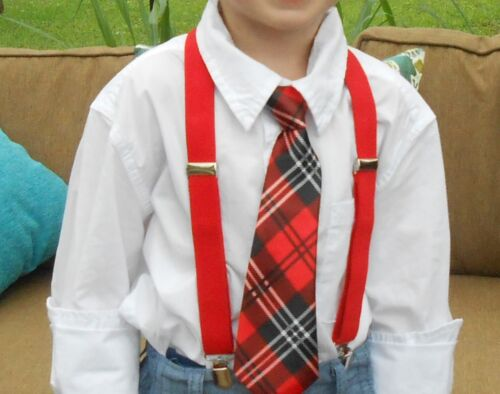 """Receive usually in 3-5 days Boy/'s 11/"""" dress tie Red Plaid Ships USA"""