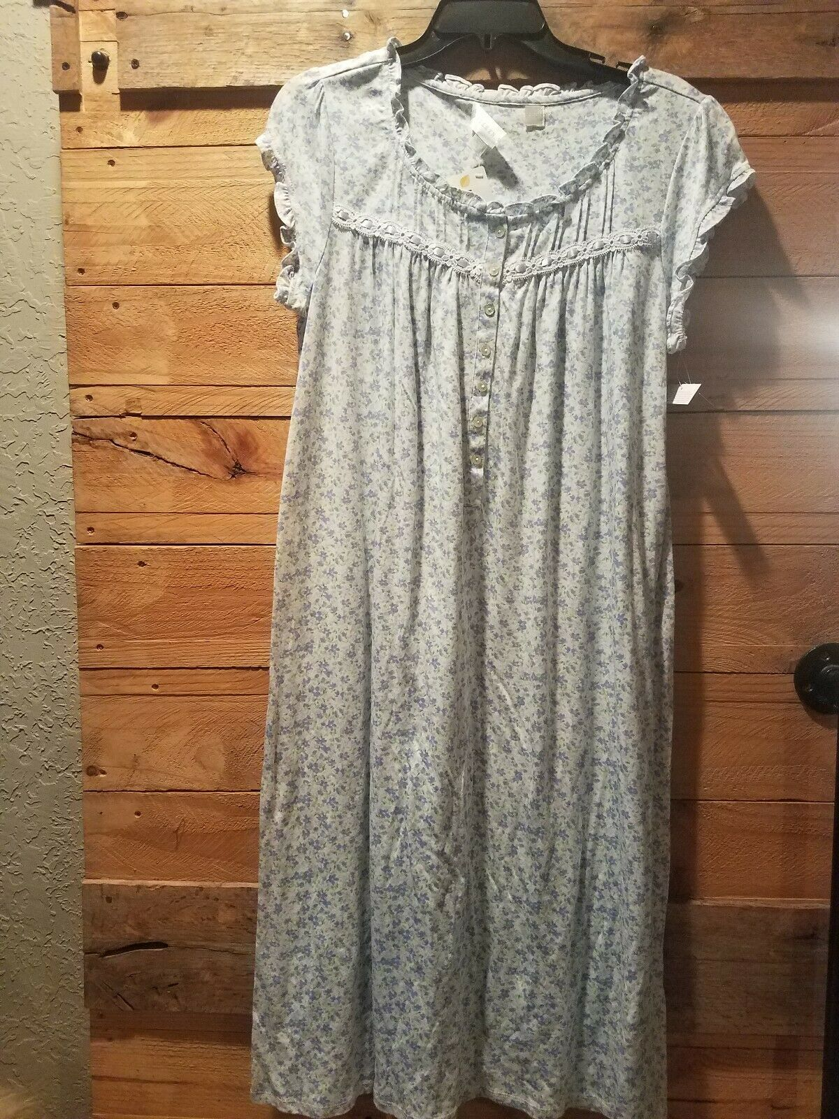 Eileen West purple floral print Nightgown Knit Cotton modal blend Size Small