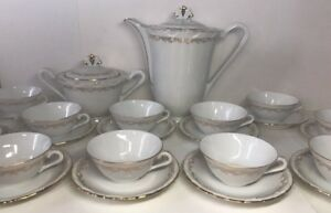 Coffee-Service-Porcelain-Delicate-Extra-White-Signed-M-amp-TH-11-Pers