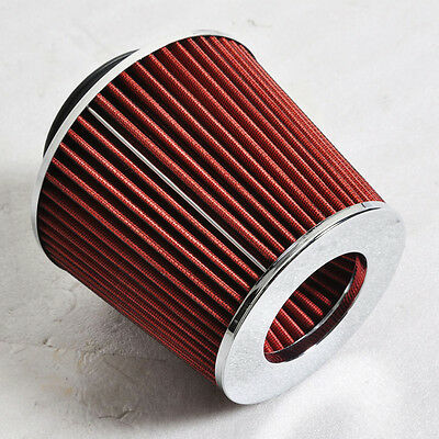 "Universal Red 3"" Inlet Cone Dry Flow Air Filter KN TYPE 3"" Cold Air Intake"