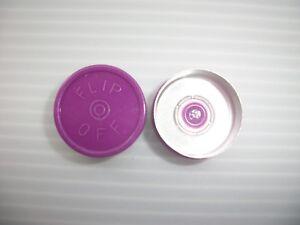 100-PURPLE-PLASTIC-FLIP-LIDS-FOR-20MM-VIAL-BOTTLES-FLIP-OFF-WRITING-ON-TOP