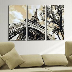 3 panels home decor modern canvas painting eiffel tower for High end home decor