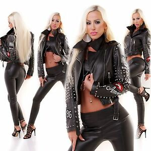 Women's Stylish Limited Edition Leather look Biker Goth style jacket UK 8 10 12