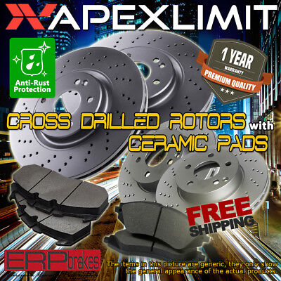 Front Drilled Rotors /& Pads Rear Drums /& Shoes for 2012-2015 Honda Civic 1.8L