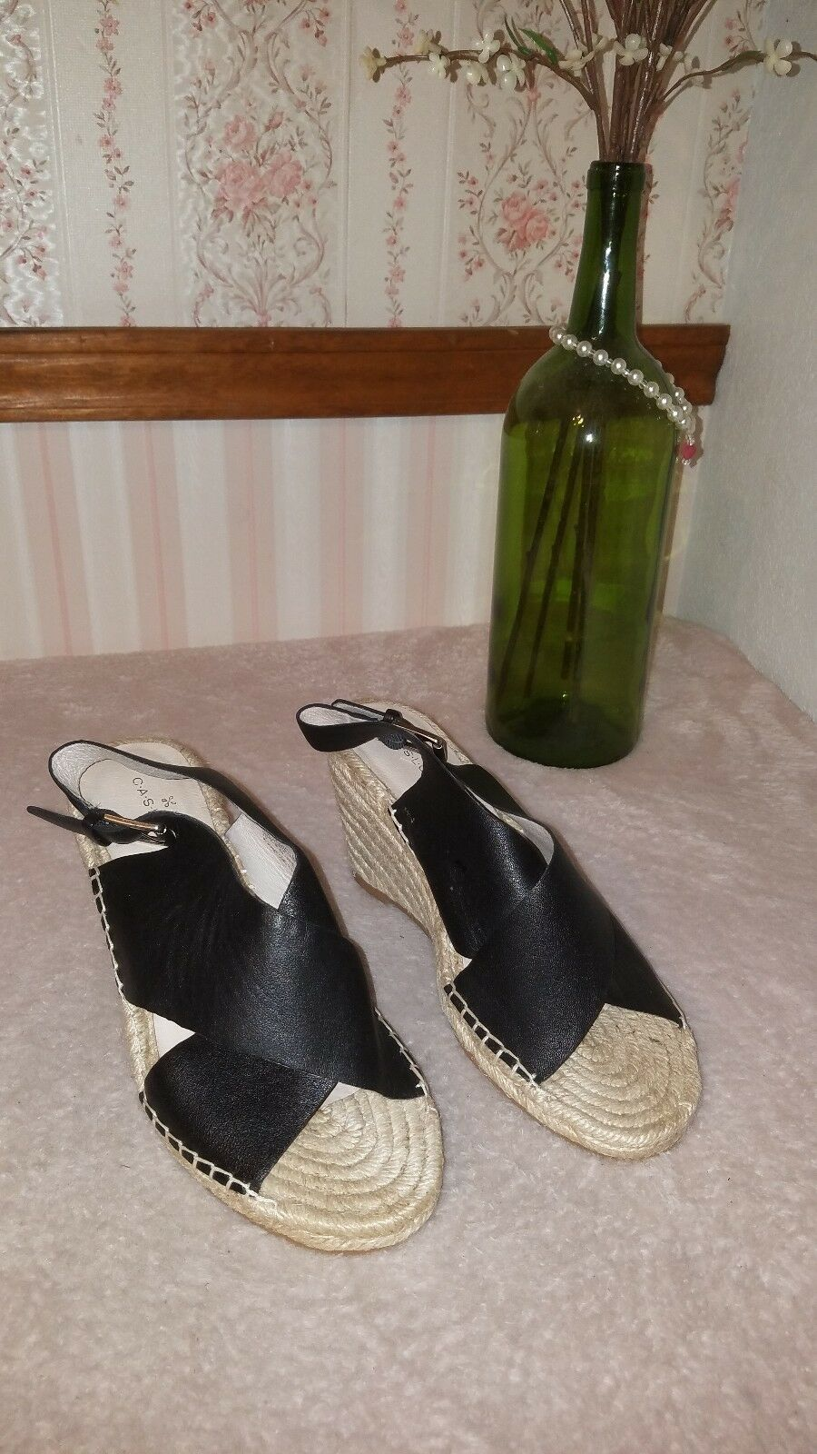 8bad38b37cf Caslon Suri Black Leather Wedge Sandals 7 M Size Espadrille ...