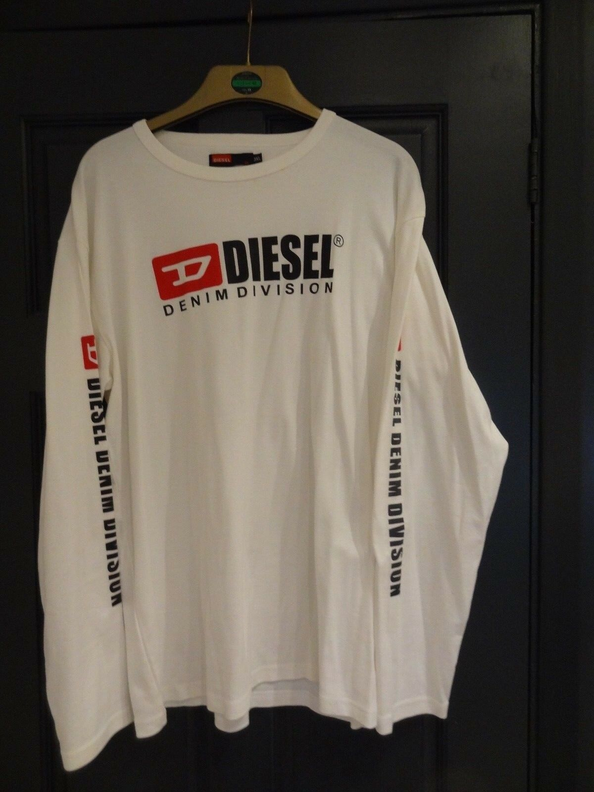 Diesel Denim Division Long Sleeve Top In White - Genuine & Highly Sought After