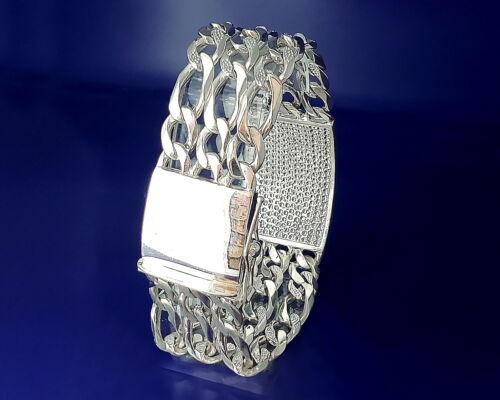 84 G 26 mm Solid Heavy Sterling Silver 3 Row Figaro Identifiant du lien Bracelet 9 in environ 22.86 cm